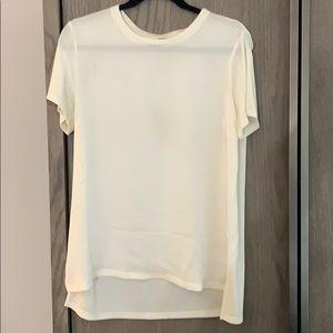 Theory White Silk T-shirt Blouse